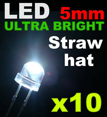 444/10# LED 5mm Grand angle Blanche + résistance 10pcs