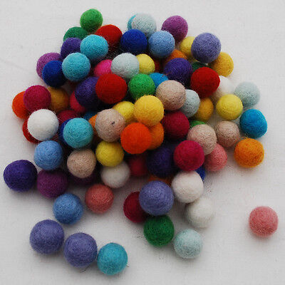 100% Wool Felt Balls - 100 Count - 1.5cm - Assorted Colours