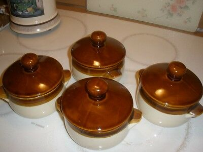 set of four reverse brown drip soup casseroles oven proof