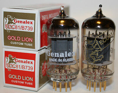 Genalex Gold Lion 12AT7/ECC81/B739 tubes, Matched Pairs, Brand New !