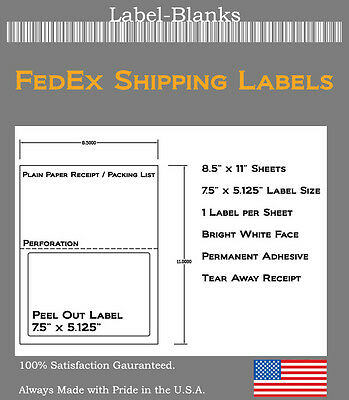 100 FedEx Shipping Labels. Tear off Receipt. Laser Ink Jet compatible 5327 5127
