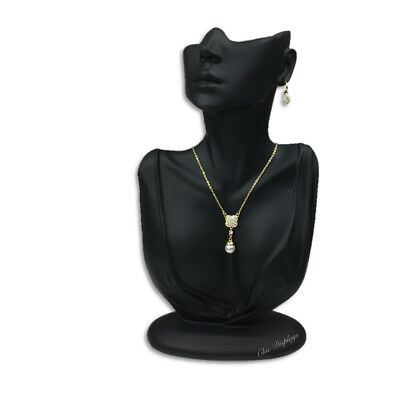 """12 1/4"""" BLACK JEWELRY DISPLAY BUST w/PARTIAL FACE DISPLAY NECKLACE DISPLAY STAND"""