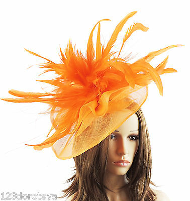 Orange Fascinator Hat For Weddings/Ascot/Proms With Headband V1