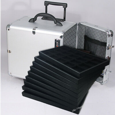 Medium Aluminum Jewelry Carry Case Travel Rolling Case Jewelry Trays & Liners