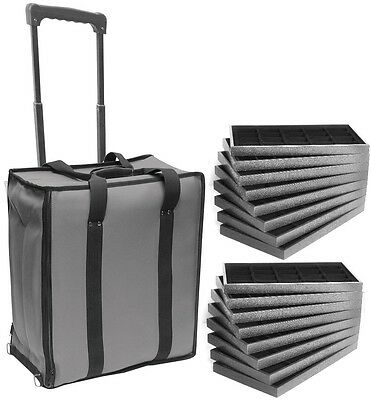 Large Jewelry Rolling Carrying Case Grey Travel Case & Jewelry Trays & Liners