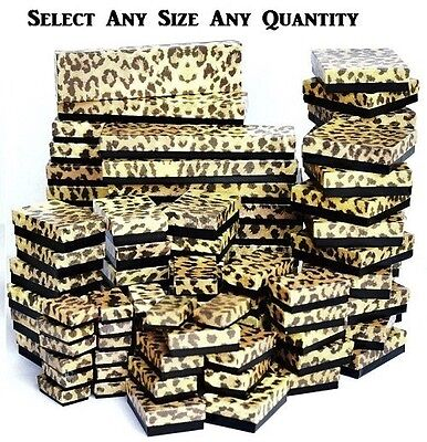 WHOLESALE BOXES 100 LEOPARD COTTON FILLED BOXES JEWELRY ASSORTED BOXES GIFT BOX
