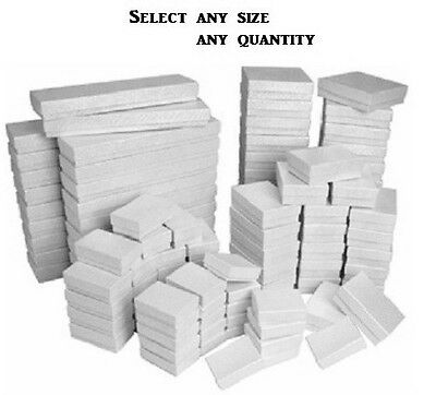 WHOLESALE BOXES 100 WHITE COTTON FILLED BOXES WHITE JEWELRY BOXES ASSORTED BOXES