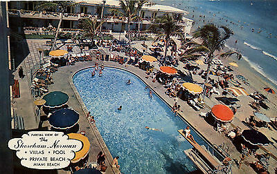 Sham Norman Hotel Pool Miami Beach Fl Florida Motel Chrome Postcard