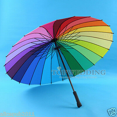 24K Beautiful Rainbow Sun/Rain Umbrella Parasol for Bridal Wedding Party Decor