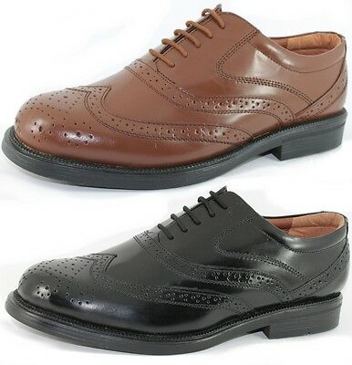 Mens Gents Leather Wide Fit Scimitar Brogues Shoes Size 6 - 14 NEW