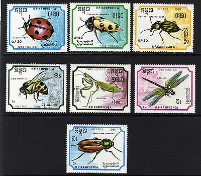 Kampuchea 1988 Insects Sg 922-928 Mnh.