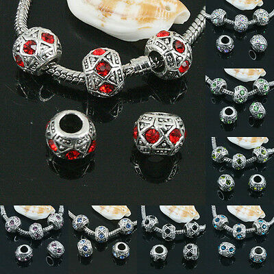 8X11mm Multi-color Crystal big hole European loose beads in Tibetan silver color