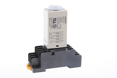 AC 220V 3Min 0-3 Minute Delay Timer Time Relay H3Y-4 w 14 Pin DIN Rail Socket