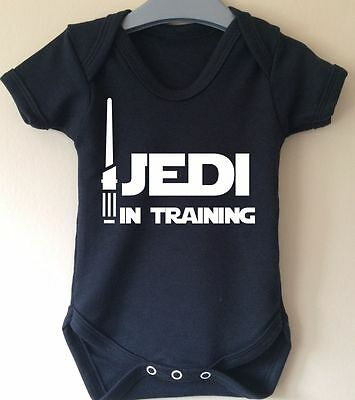 Jedi In Training Star Wars Lightsaber Baby Body Grow Suit Vest Girl Boy Gift