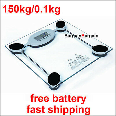 Personal digital electronic glass body bathroom gym weight scales 150kg /0.1