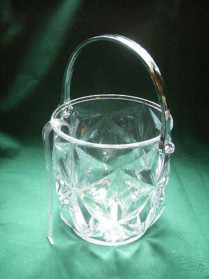 """2 mini Acrylic Ice Buckets Clear with Thongs 5""""tall 4.5 Inch Opening"""