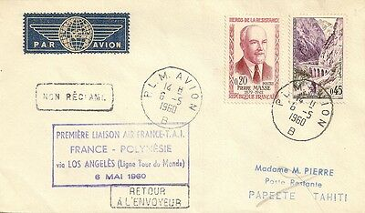 LETTRE PAR AVION 1ere LIAISON AERIENNE FRANCE POLYNESIE VIA LOS ANGELES 1960
