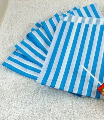 50 Light Blue & White Stripe Paper Sweet Bags Wedding Any Occasion Pick 'n' Mix