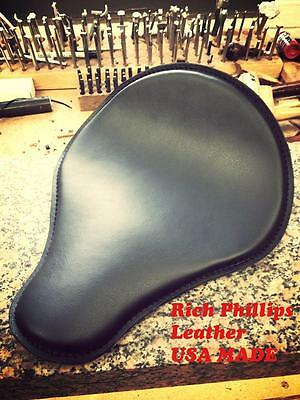 Black Motorcycle Spring Solo Seat Harley Chopper Bobber Rich Phillips Leather