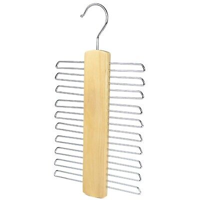 20 Bar Wooden Tie Hanger, Coat Scarfs & Belt Rack Mens Organiser, lot listing