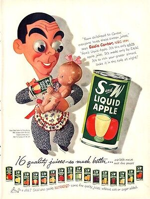 1952 S & W PRINT AD features Comic version of Eddie Cantor with Baby cute decor