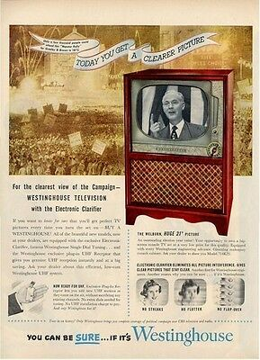 "1952 Westinghouse Cabinet Television TV   21"" Welburn  PRINT AD"