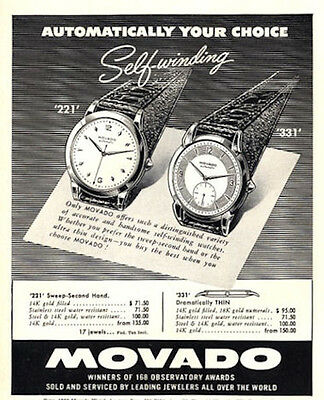 1952 Movado  PRINT AD features & details two great watches 331 & 221