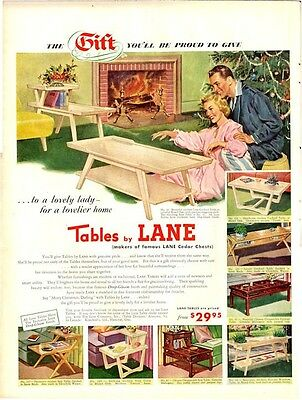 1952 Lane Tables Great detail on eight styles Christmas Decor PRINT AD