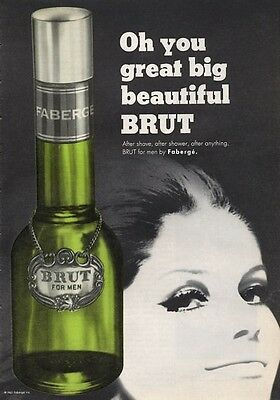 1965 Faberge BRUT His Perfume VIntage Bottle PRINT AD