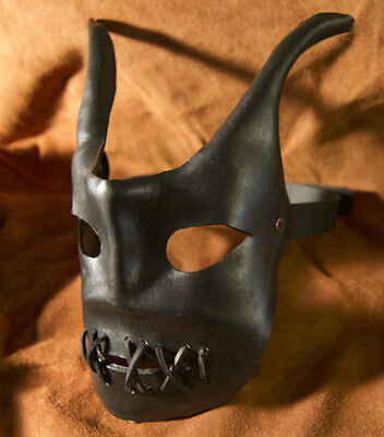 Halloween mask Hand painted resin finish leather strap Mardi Gras masquerade