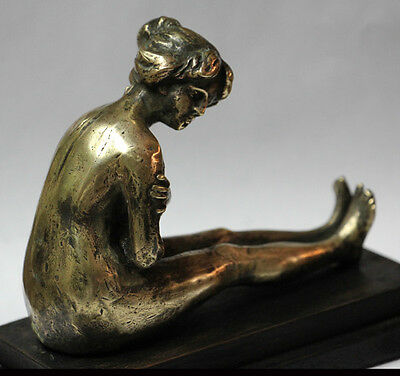 Interesting old bronze very sensual naked lady woman embarrassed ashamed
