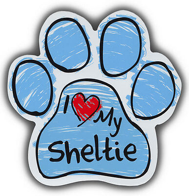 Scribble Paw Dog Magnets: I LOVE MY SHELTIE | Cars, Trucks, Refrigerators