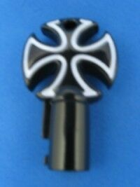 Cross Round Barrel Key Blank For Harley Davidson Black Chrome With White #1022A