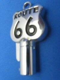 Route 66 Round Barrel Key Blank For Harley Davidson Bright Chrome W Black #1014A