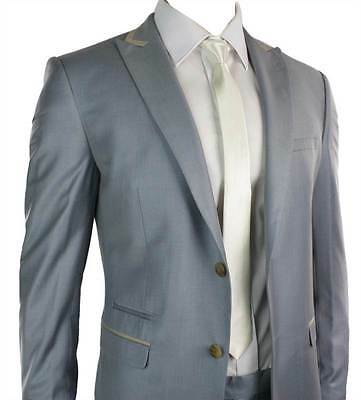 Mens Fitted Powder Baby Blue Suit Beige Trim Smart Office Wedding Party Prom