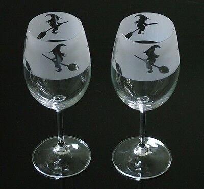 Witch gift Wine Glasses, from Glass in the Forest.. Boxed