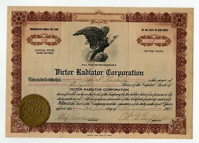 Victor Radiator Corporation stock certificate