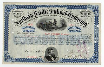 1876 Northern Pacific Railroad Co. Stock - Issued & Signed by JAY COOKE!
