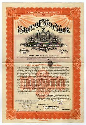 Frederick W. Vanderbilt - State of New York World War I Bonus Bond