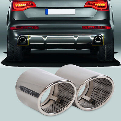 2X CHROME STAINLESS STEEL EXHAUST TAIL REAR MUFFLER TIP PIPE for AUDI Q7 3.0