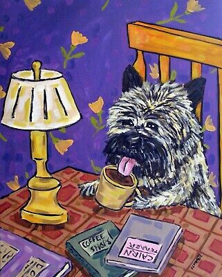 cairn terrier coffee signed art print animals impressionism gift new 8x10