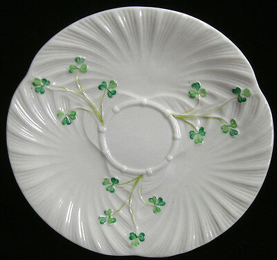 IRISH BELLEEK HARP SHAMROCK BREAD TRAY