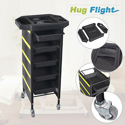 Salon Hairdresser 5 Drawer Beauty Spa Coloring Hair Trolley Rolling Storage Cart