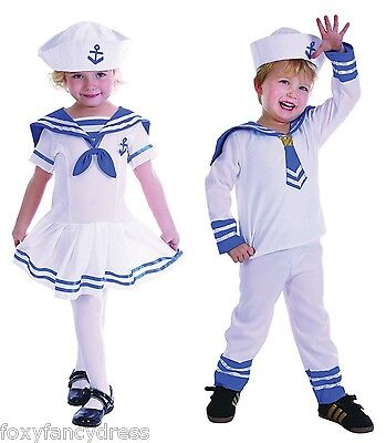 Cute Boy and Girls Toddler Sailor Suit Dress Naval Fancy Dress