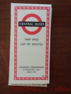 1962 London Transport Central Buses Bus Map and List of Routes Vintage Original