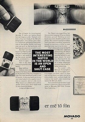 1965 Movado PRINT AD Features & details Ermetophon  Desk/Table/Pocket Watch