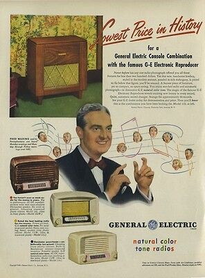 1948 General Electric PRINT AD G.E. Vintage radio models 102W, 115, 114 & 119