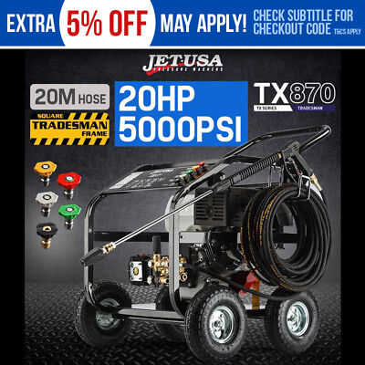 JET-USA Cleaner 20HP Petrol High Pressure Washer 5000 PSI Water Blaster Gurney