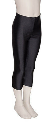 Girls Childrens Black Shiny Lycra 3/4 Capris Dance Gym Ballet Leggings KDT003