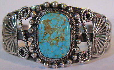 Striking Vintage Navajo Indian Applied Designs Silver Turquoise Cuff Bracelet